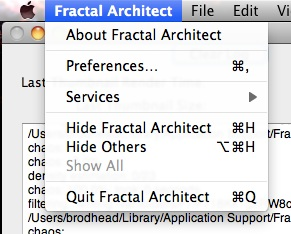Fractal Architect menu